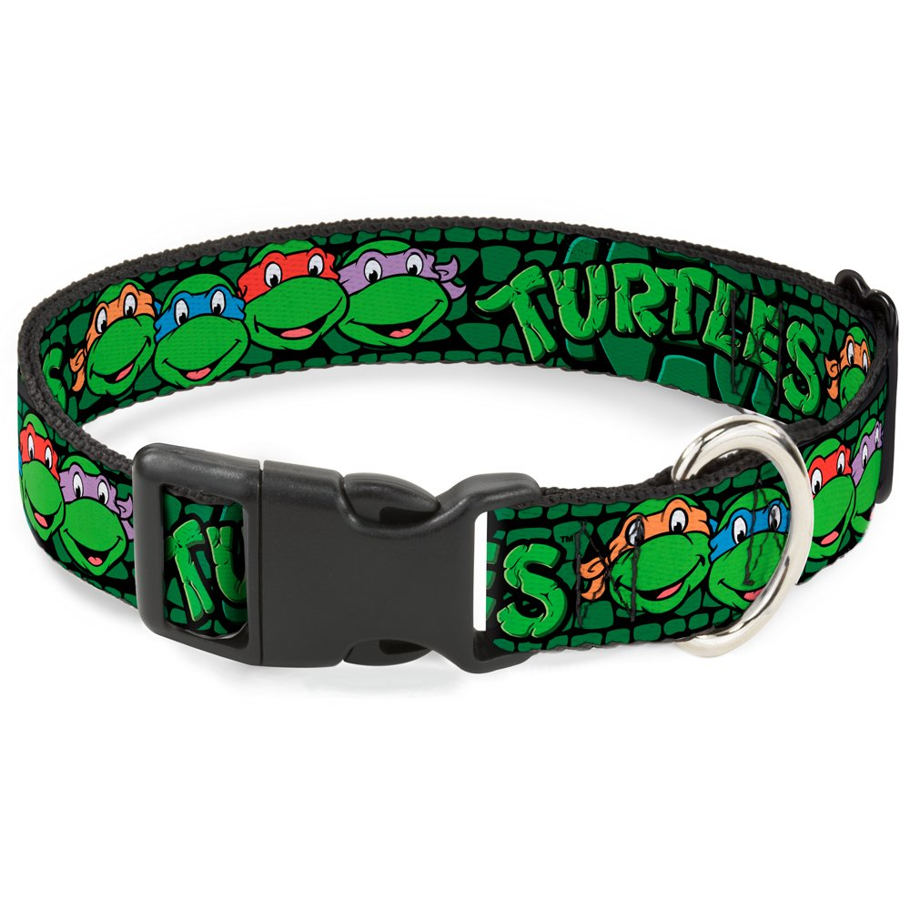 Buckle-Down Classic TMNT Group Faces Turtles Turtle Shell Black Green  Breakaway Cat Collar, 1 2  x 8-12  Medium