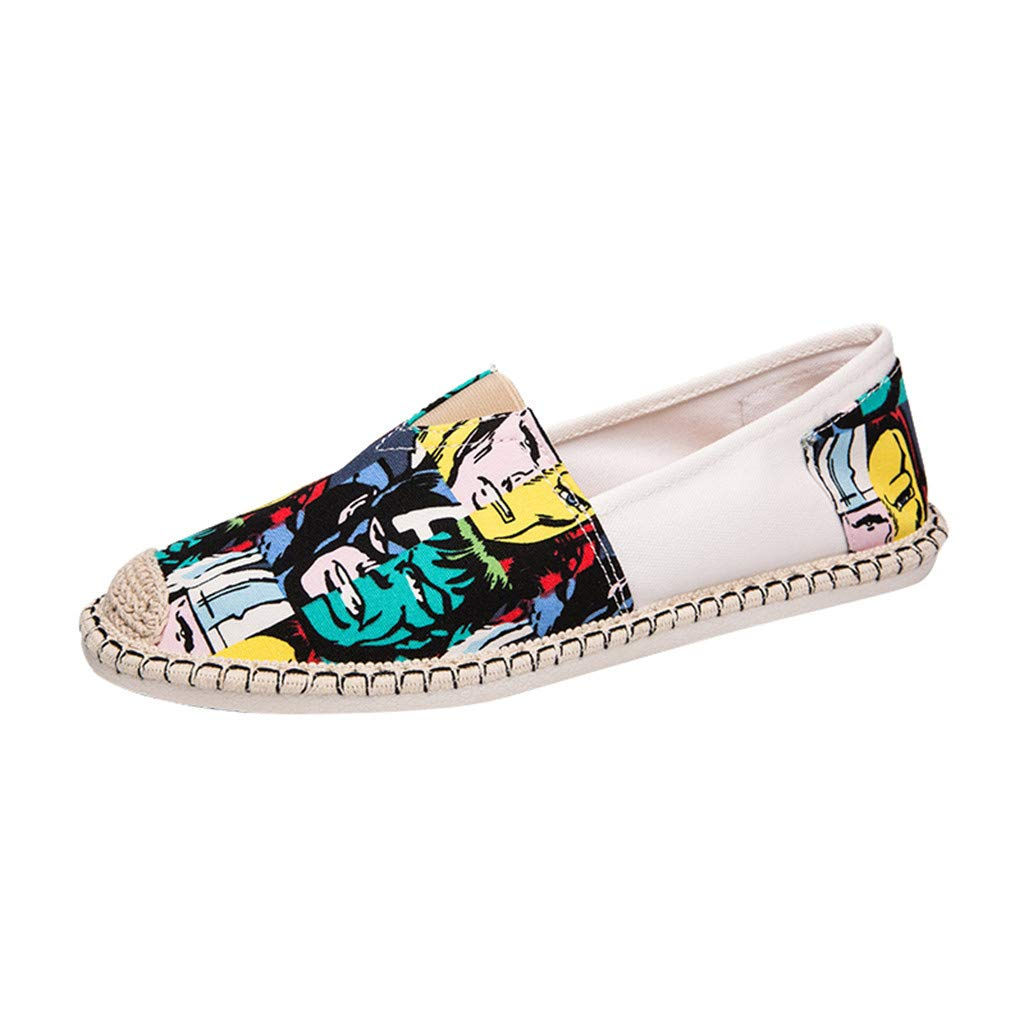 Dermanony Men's Ethnic Style Printed Loafer Fashion Graffiti Canvas Shoes Summer Wild Slip on Cloth Shoes Sneakers Green by Dermanony _Shoes
