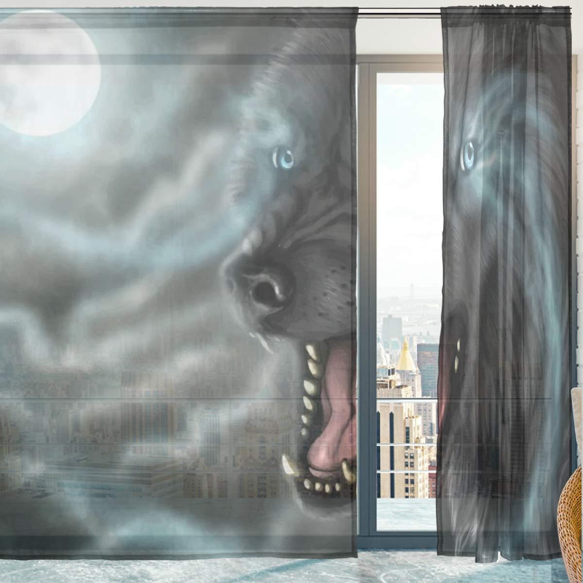 Mnsruu Rideau Voilage Voilage Loup Pleine Lune Panneau De Voilage