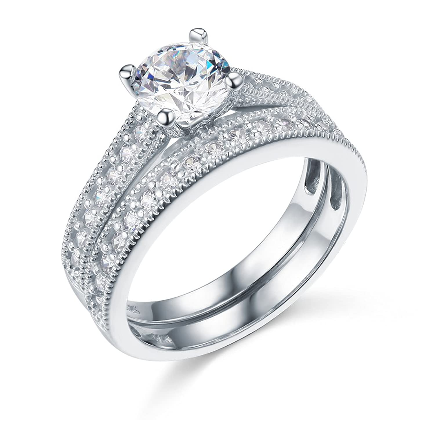 14k White Gold SOLID Wedding Engagement Ring and Wedding Band 2 Piece Set