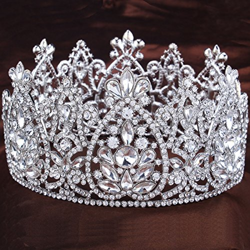 - FUMUD 3.5'' height Crystal Bridal Tiara Wedding Hair Accessories Rhinestone Crown Round Symmetric Tiara Crown Wedding Pageant (Silver)