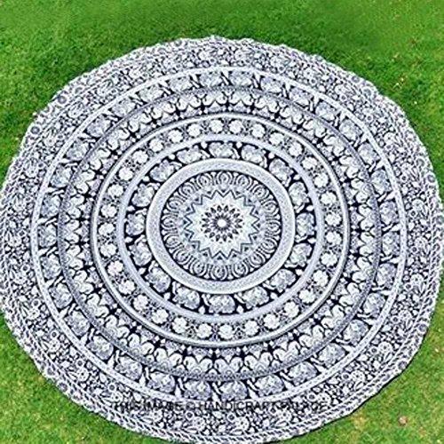 Elephant Mandala Round Roundie Beach Throw Indian Tapestry Hippie Yoga Mat - Towel Circle
