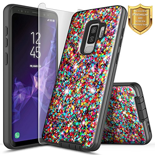 Galaxy S9 Plus Case with [Screen Protector HD Clear], NageBee Glitter Shiny Bling Sparkle Defender Dual Layer Shock Proof Hybrid Cute Case Compatible with Samsung Galaxy S9 Plus -Rainbow