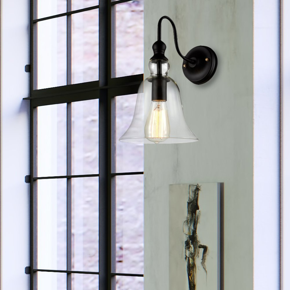 Ohr Lighting Industrial Glass Metal Wall Mount Sconce Light Fixture Bell Shape Oil Rubbed Clear Black
