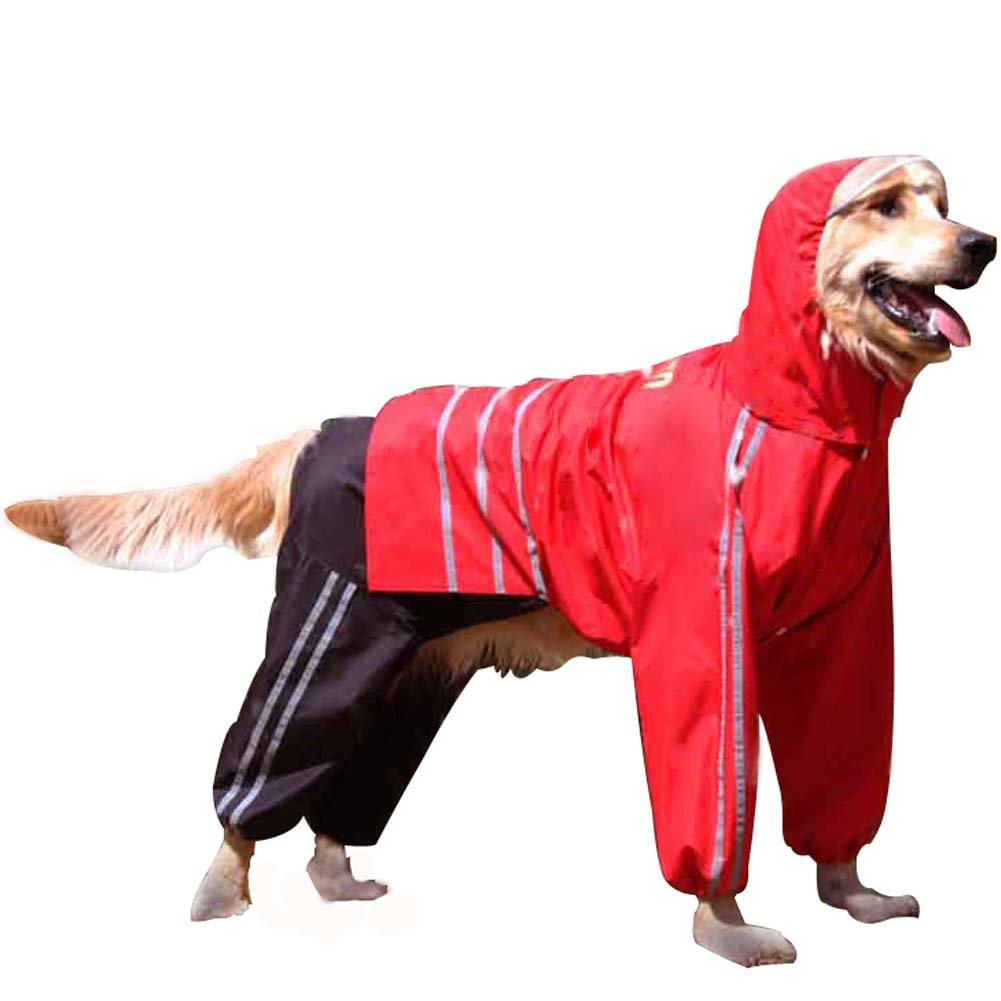 Red Size 11 Red Size 11 Da Jia Inc Creative 9 Sizes Detachable Pet Dog Hooded Reflective Raincoat(Red,Size 11)