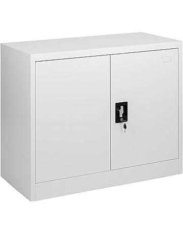 MMT Furniture Designs Archivador de 2 puertas de acero gris, 2 puertas con cerradura,