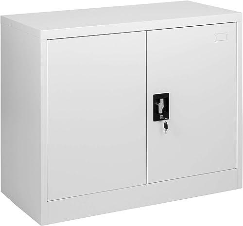MMT Furniture Designs FC-A9WGrey Steel Office Storage Cabinet, 900mm Tall, Grey