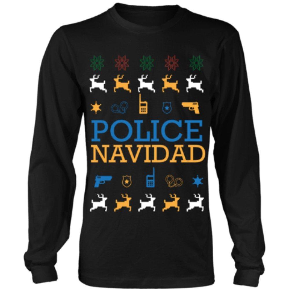 JoyHip.com Police Navidad Thin Blue Line Law Enforcement Funny Ugly Christmas Sweater Unisex Long Sleeve Shirt