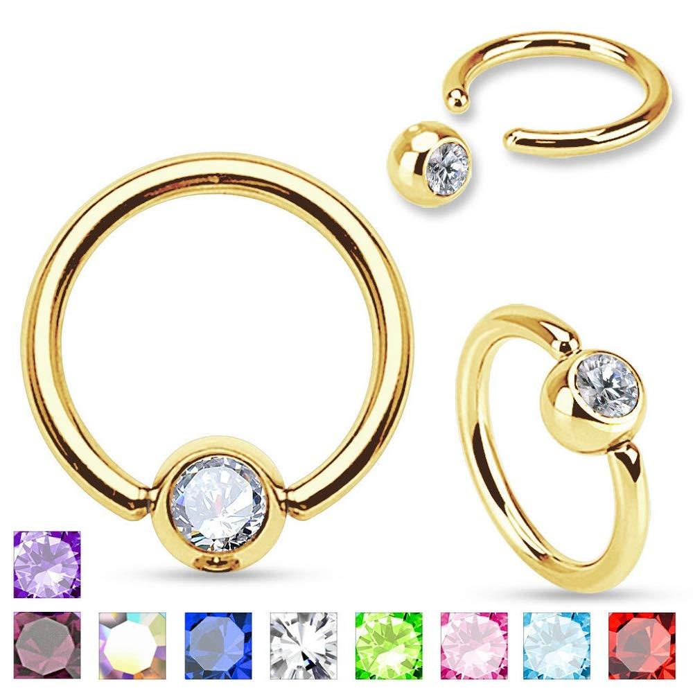5//16 8 mm 1.2 arif/_po 2 PCS Pink16G 3 m Gold Plated Captive Bead Ring with Gem Set Ball Septum Nipple Ring