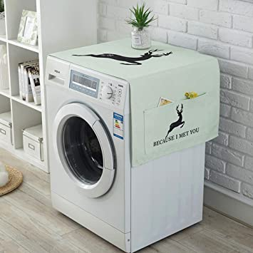 Amazon Com Zsjzhb Elk Refrigerator Dust Cover Washing Machine Top Cover Decoration For Refrigerator Dryer Microwave Oven With Side Storage Bag 55 140cm