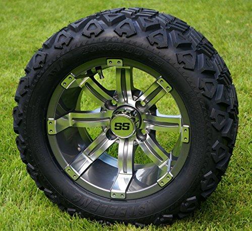12″ TEMPEST Gunmetal Golf Cart Wheels and 20×10-12 DOT All Terrain Golf Cart Tires – Set of 4 – NO LIFT REQUIRED (read description)