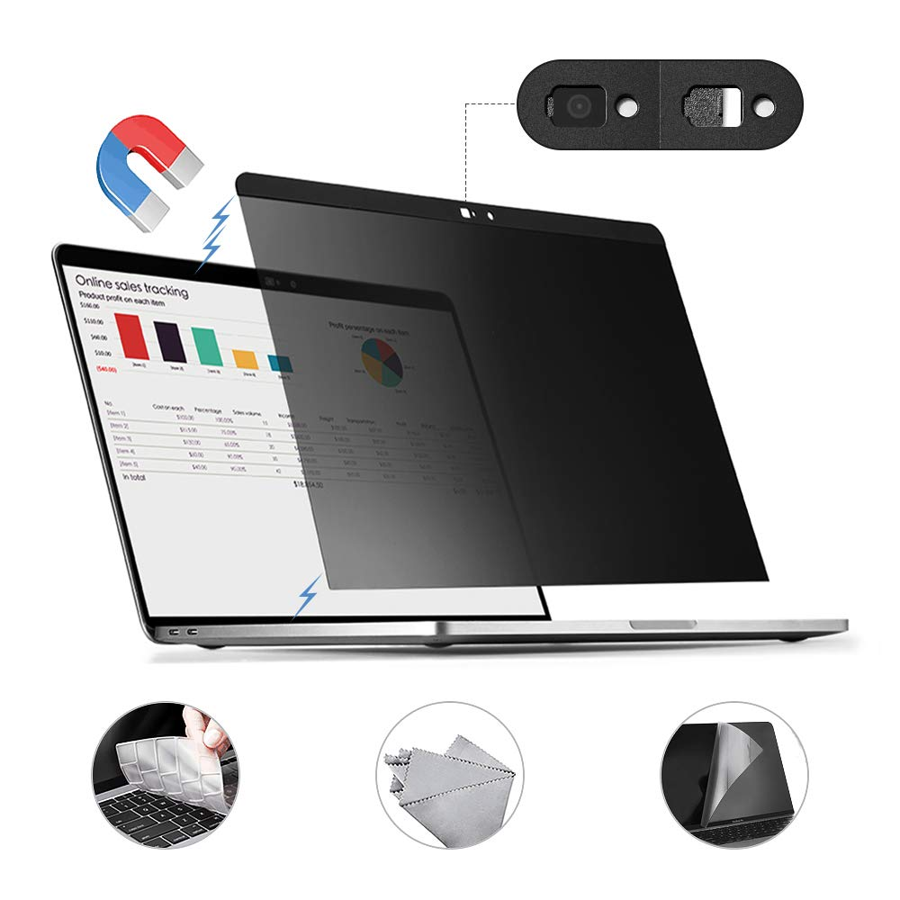 Magnetic Installation for MacBook Pro 16 inch for MacBook Pro 16 inch Magnetic HD Privacy Screen Protector Filter Webcam Cover TPU Keyboard Cover,