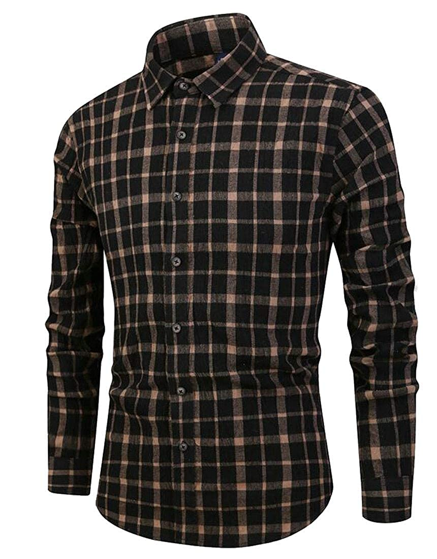 UNINUKOO Unko Mens Long Sleeve Cotton Casual Checkered Dress Shirt Button Down Shirt