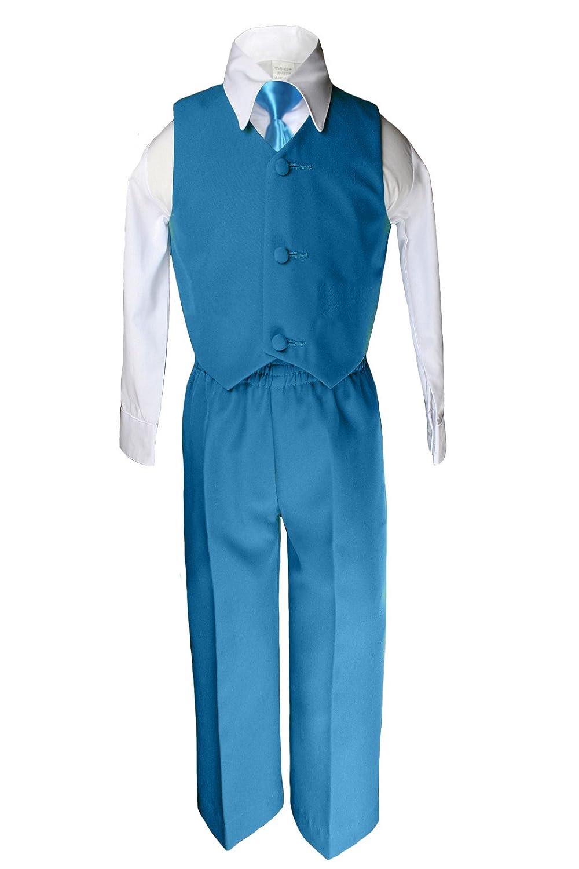 Unotux 6pc Boy Teal Greenish Blue Tuxedo Suits Satin Turquoise Necktie Baby Teen