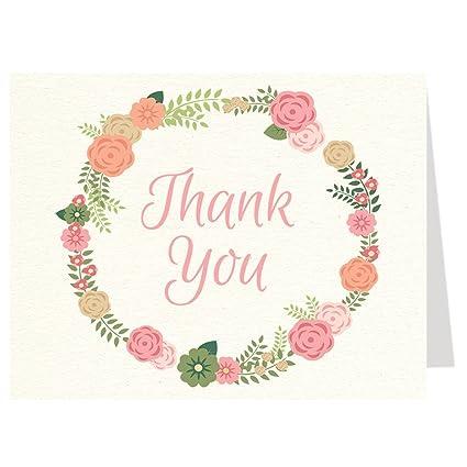Tarjetas de agradecimiento, bohemio, corona, flores, Baby ...