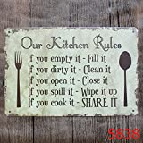 OUR KITCHEN RULES Metal Sign Tin Signs Retro Shabby Wall Plaque Metal Poster Plate 20x30cm Wall Art Coffee Shop Pub Bar Home Hotel Decor