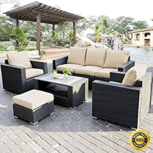 COLIBROX--7PC Outdoor Patio Sectional Furniture PE Wicker Rattan Sofa Set Deck Couch New,7 piece patio set clearance,cheap patio furniture sets,outdoor seating group ,outdoor dining table