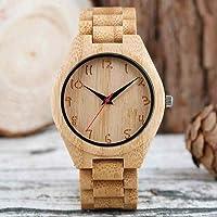FLHSL Houten horloge Bamboe horloge voor mannen handgemaakte met gegraveerde nummers Dial Natuurlijke houten polshorloge…