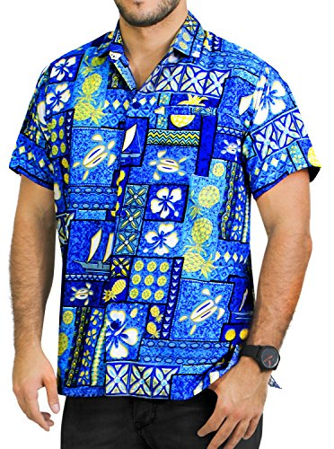Mens Relaxed Fit Aloha Hawaiian Short Sleeves Button Down Tropcial Floral Shirt