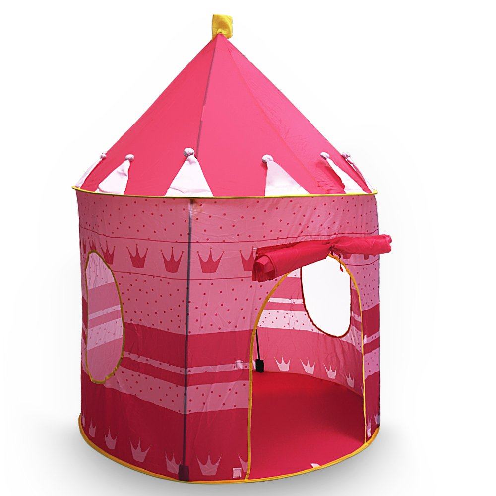 Flexzion Princess Castle Play Tent Portable Folding Girl's Pop Up Playhouse Castle Fairy Tale Cubby Child Kids House Pink for Indoor Outdoor Home Room Decor