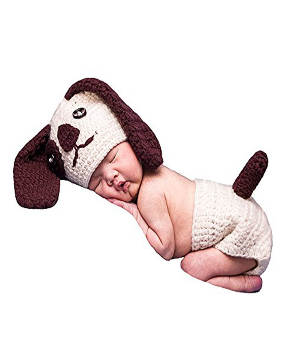 UOMNY Baby Newborn Photography Props Cute Dog Handmade Crochet Knitted Unisex Baby Cap Outfit