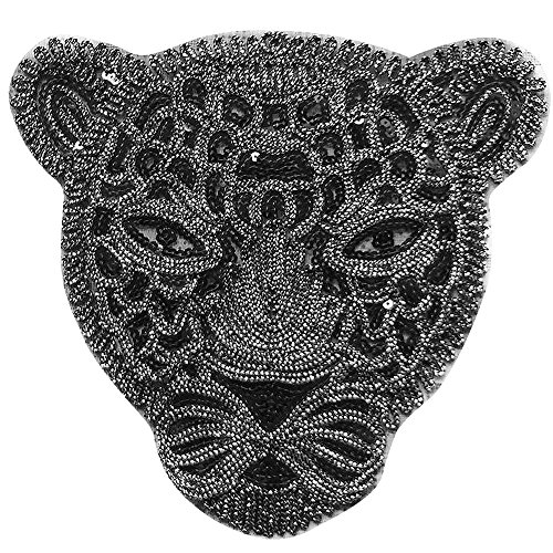 27x27 cm Size Iron On Embroidered Motif Applique Glitter Sequin Decoration Patches DIY Sew on Patch Perfect for Jeans Clothing(Black (Embroidered Sequin Applique)