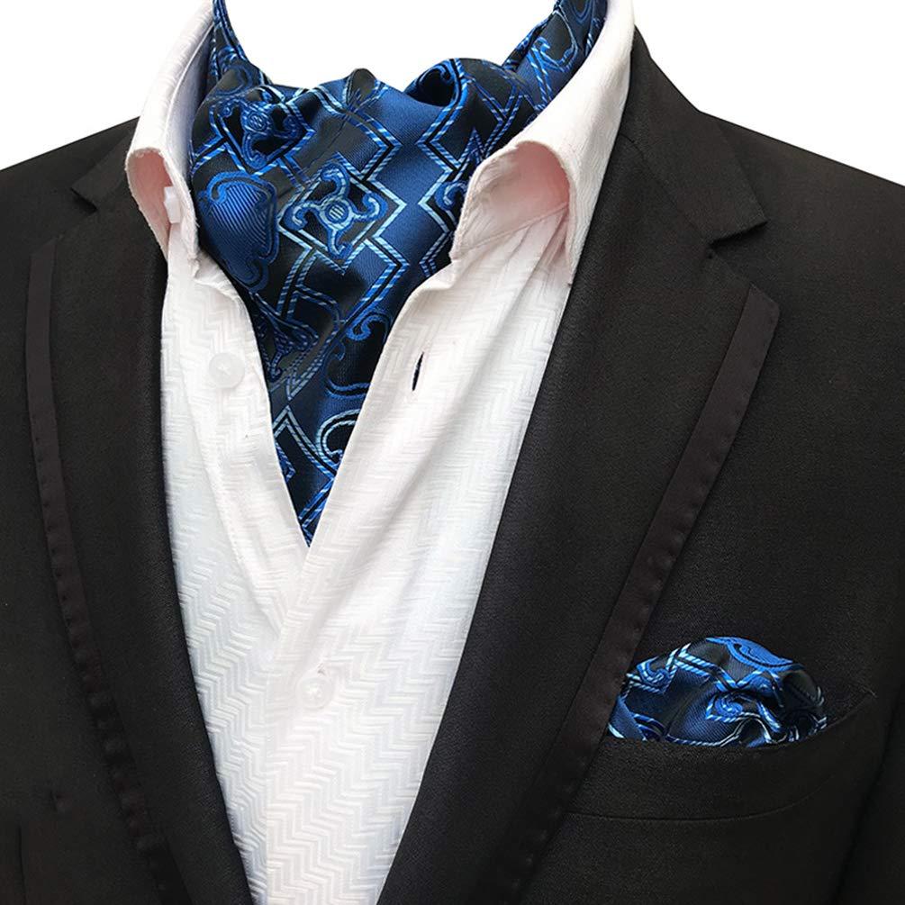 MOHSLEE Mens Elegant Floral 4 Pack Cravat Silk Ascot Scarf Tie Pocket Square Set 1455TBJ