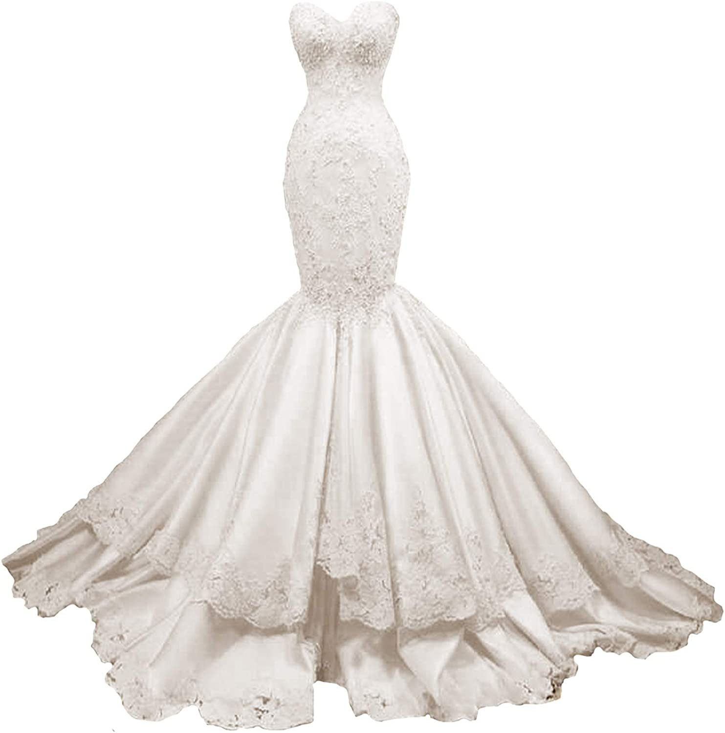 Yuxin Sweetheart Strapless Mermaid Lace Wedding Dress Beading Satin Bridal Gowns At Amazon Women S Clothing Store