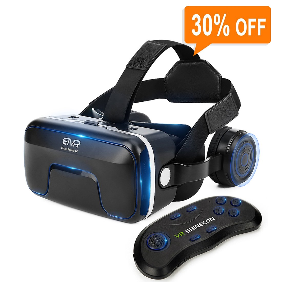VR Headset with Remote Controller Immersive 3D VR Glasses Virtual Reality Headset with Stereo Headphone and Adjustable Headstrap for 3D Movies & VR Games, Fit for 4.7-6.0 inch IOS/Android Smartphone
