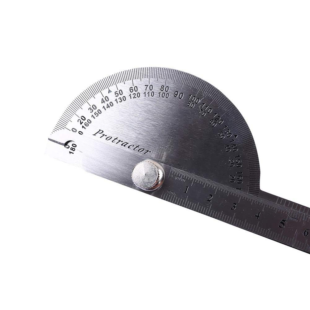 Minimew Goniometro rotativo Staccabile Acciaio Inossidabile Angolo Righello 0-180 Grado di Misura Righello Ingegnere Carpenter Strumento Gauge Pittura Disegno Strumento di Misura