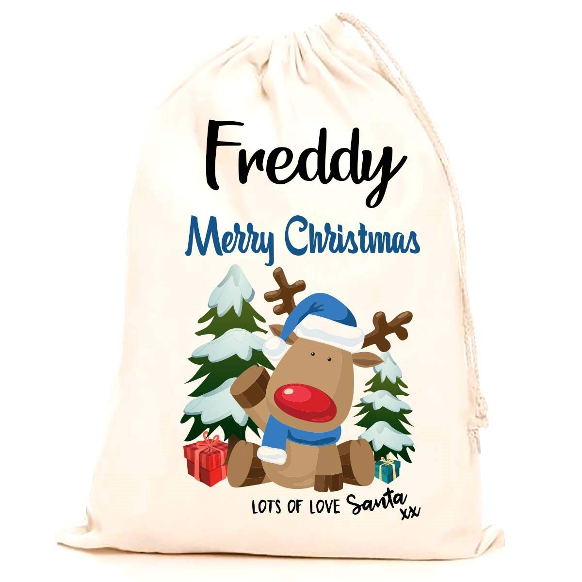 Treat Me Suite Freddy personalised name Christmas santa sack, stocking printed with a blue reindeer (75x50cm) 100% Cotton Large. Children, Kids, making it the perfect keepsake xmas gift/present. CS Printing Limited