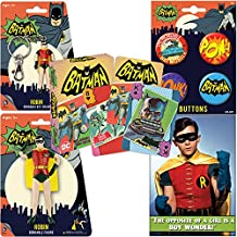 PopShoppes Robin (Batman Classic TV Series) PopBox Deluxe Set (Bendable Figure, Playing Cards, Bendable Keychain, Magnet and Button Set) Cool Value!