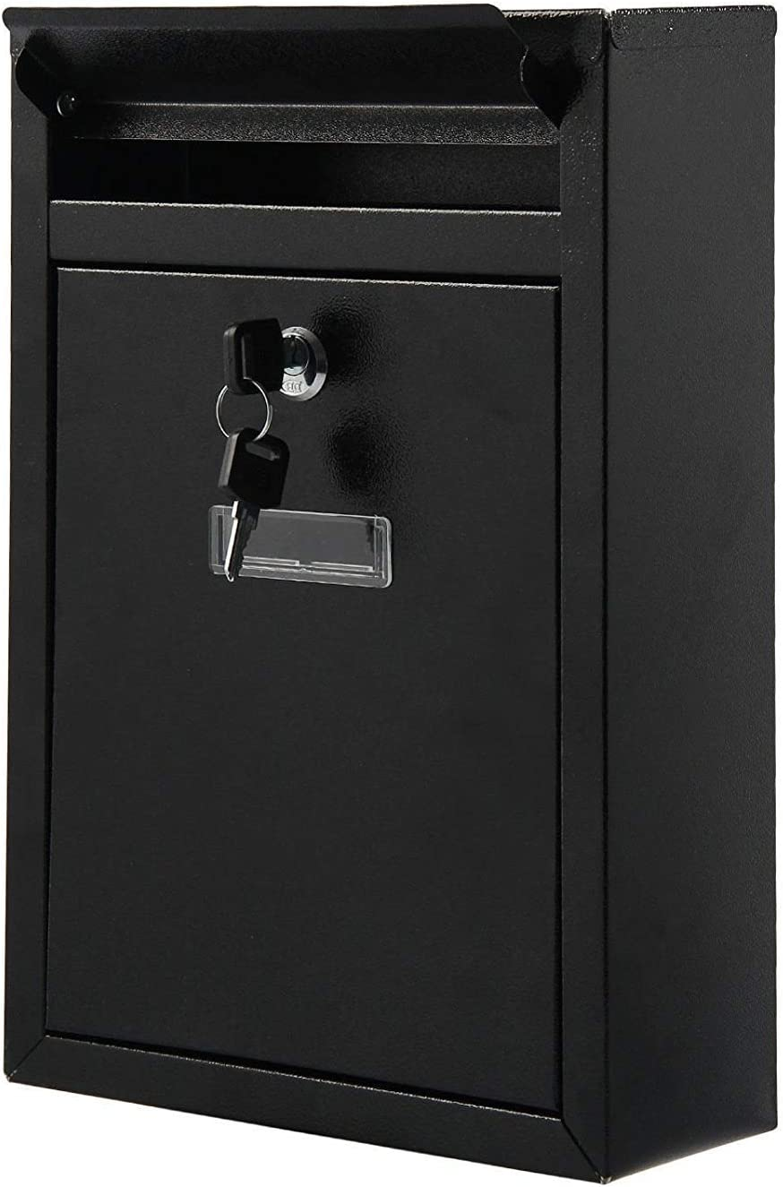 FiNeWaY Black Steel Lockable Wall Mounted Letter Post Postbox Letterbox Mail Box Mailbox with 2 Keys