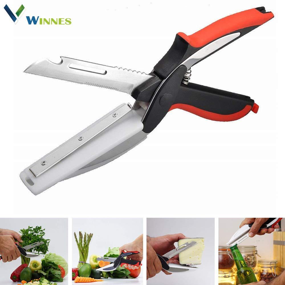 Kitchen Scissor Food Chopper Food Scissor,Winnes 2 In 1 Kitchen Knife & Cutting Board Scissors Stainless Steel Food Cutter Fruit Peeler for Meat Vegetables Shredders Kitchen Tools