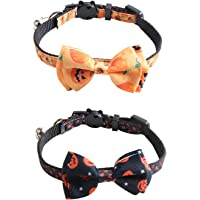 2 Pcs Halloween Cat Collar, 0.4*11inch Removable Bow Tie with Bell for Halloween, Small Pet, Kitten, Puppy Decoration…