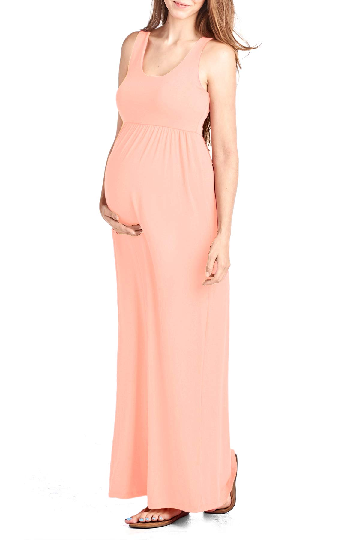Beachcoco Women's Maternity Maxi Tank Dress Made in USA (M, Peach)
