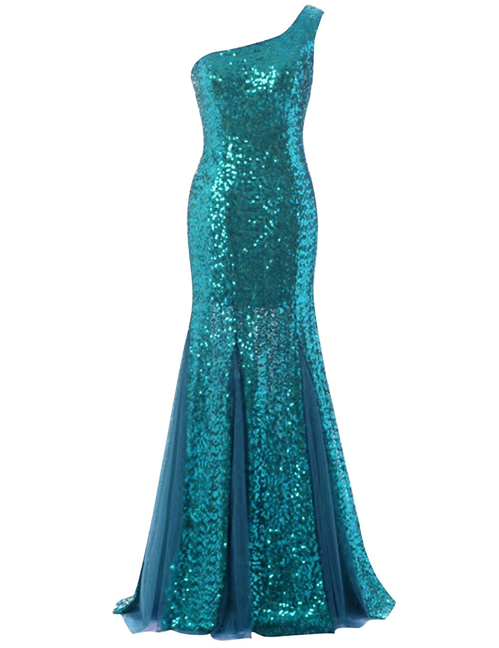 Women Sparkly Sequins Prom Evening Gown Long One Shoulder Bridesmaid Dress Turquoise US14