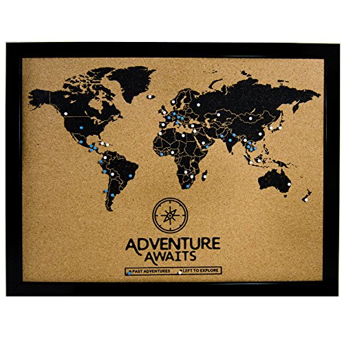 (Art of Wanderlust | Cork Board World Travel Map with Pins | Inspirational Wall Art to Track Past and Future Travel)