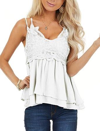 Lelili Women Fashion Lace Shirt Chiffon Stitching Lace V-Neck Sleeveless Tank Top Cami Shirt Blouse