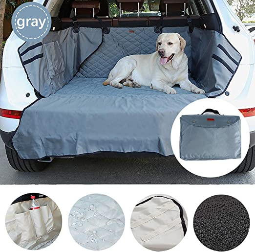 Black SUV Car Boot Liner For Dogs Quilted Nylon Oxford Fabric Waterproof Non-slip Bumper Flap Durable Collapsible Heavy Duty Pet SUV Boot Seat Covers Bumper Protector Trunk Cargo Liner Cover Mat