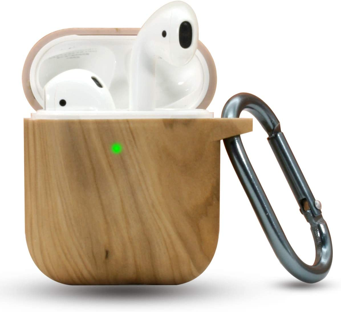 ACOUS Design AirPods Case Silicone AirPods Accessories Cover Compatible with Apple AirPods 1&2 Wireless and Wired Charging Case Front LED Visible ( Wood Pattern Light Color)