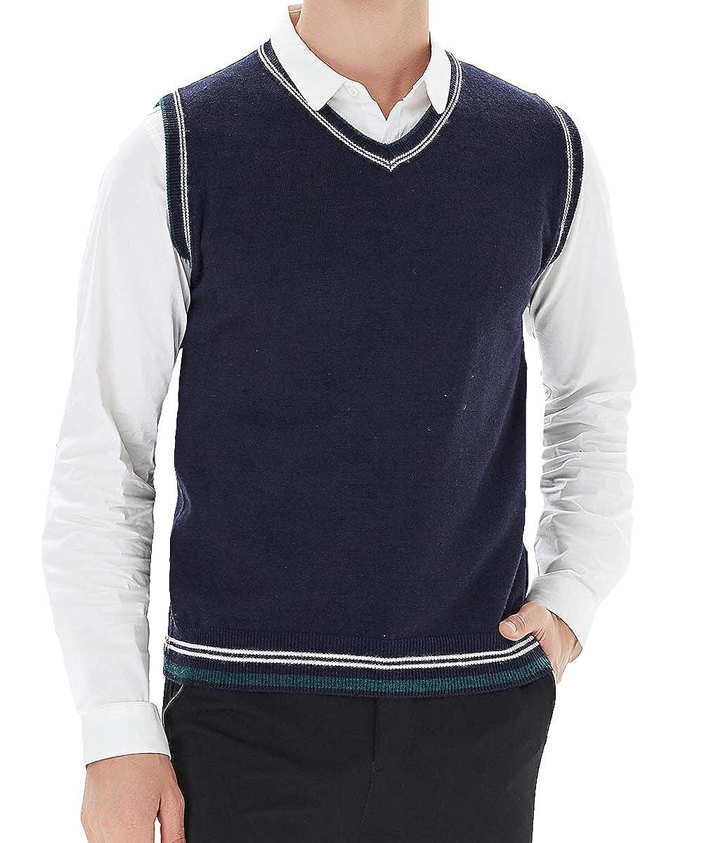 YinQ Herren V-Ausschnitt Business Muster Streifen Pullunder Weste Strickweste Feinstrick