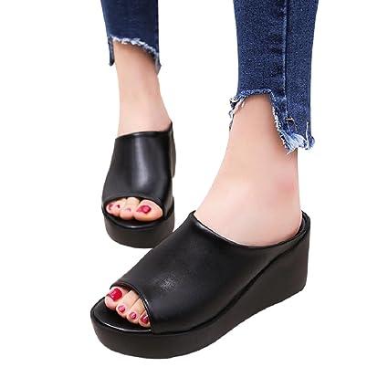 4ce7458cc Amazon.com  Women Summer Leisure Fish Mouth Sandals Thick Bottom ...