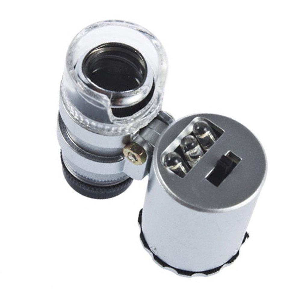 KIMILAR Mini 60X LED Mikroskop Taschenmikroskop Lupe Mikroskop f/ür Juwelier Einstellbare Lupe mit UV-Licht