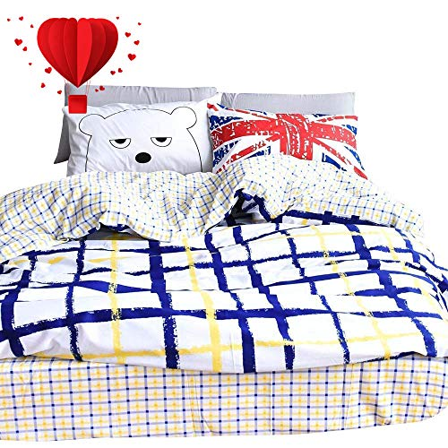 BuLuTu Britain Bear Series Cotton Full Duvet Cover Set White 3 Pieces Reversible Geometric Grid Queen Comforter Cover Sets with 4 Corner Ties for Kids Boys -