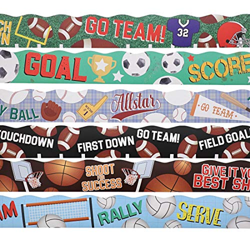 Juvale 6 Rolls Bulletin Board Sports Scalloped Border Classroom Decoration, 6 Designs, 2 x 36 Inches