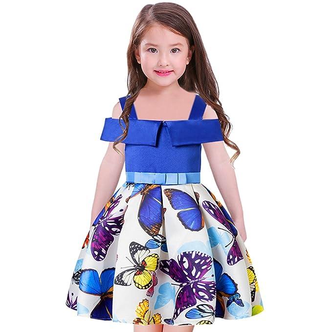 Yiiquan Verano Vestidos para Niña Mariposa Patrón Imprimir Off-Shoulder Elegante Fiesta Vestido (Azul