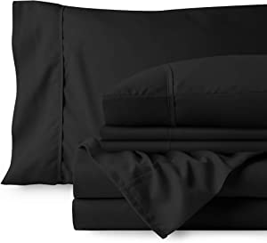 Bare Home 6 Piece 1800 Deep Pocket Bed Sheet Set - Ultra-Soft Hypoallergenic - 4 Pillowcases (Full, Charcoal)