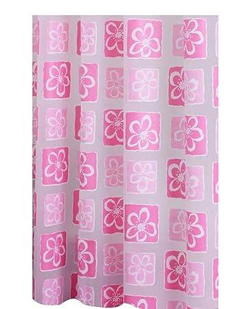 Pinke Blumen] PEVA Wasserdicht Duschvorhang Badezimmer Dekor Vorhang ...