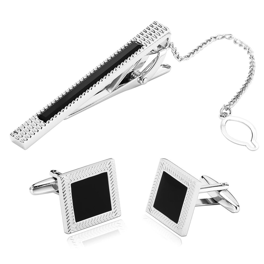 KnSam Men Stainless Steel Tie Clip Cufflinks Set Silver Rectangle Square Imitate Agate Tie Bar Shirt Stud